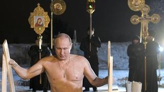 Russian president Vladimir Putin braves subzero lake to mark Orthodox Epiphany