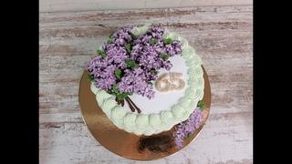 быстрый торт Ветка СИРЕНИ! Украшение белково-заварным кремом! СИРЕНЬ из крема! от ТОРТЫ и КУЛИНАРИЯ