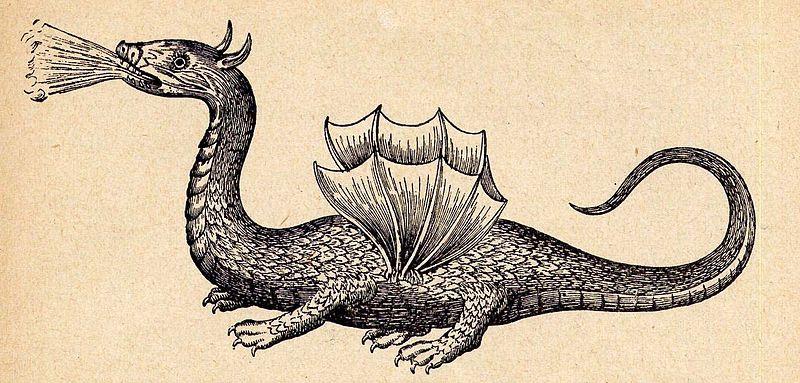 Рисунок Родосского дракона по описанию Бозиоиз «Mundus Subterraneus[en]»,Афанасия Кирхера (1602—1680)