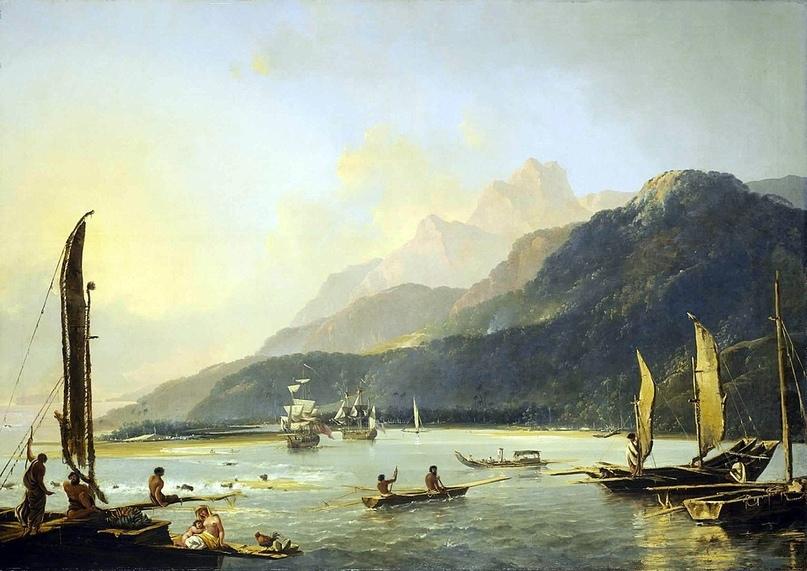 Высадка в бухте Матави на Таити во время второго кругосветного путешествия.