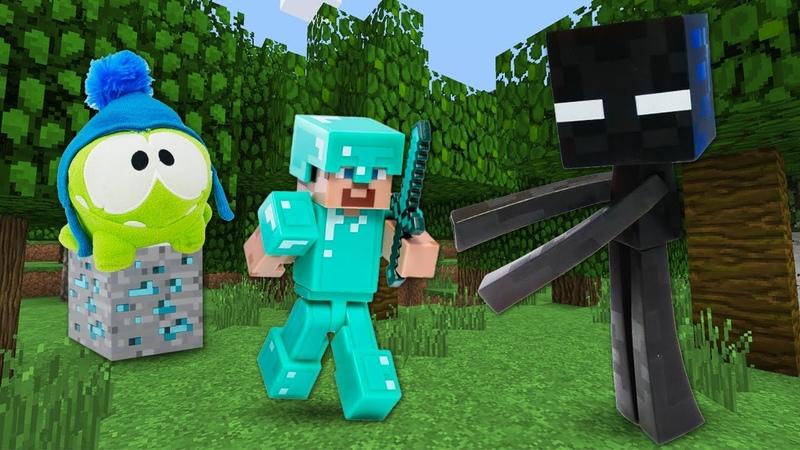 Видео обзор игр Стив Майнкрафт Лего и Ам Ням в Minecraft Игры битвы с мобами Майнкрафт