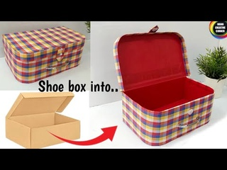 How to Transform a Shoe Box into a beautiful storage box/Shoe cardboard Box craft idea/Best